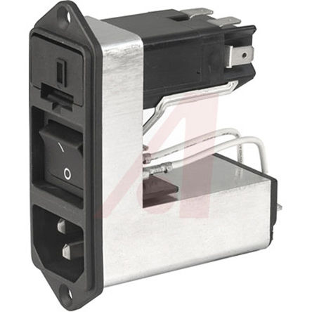 Screw-on Mounting 4.8mm QC SCHURTER 6600.3200.21 Power Entry Connector Appliance Outlet F Receptacle with Cord Latch