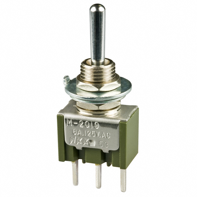 SPDT ON-OFF-MON NKK SWITCHES M2019SS1W01 VERT TOGGLE SWITCH